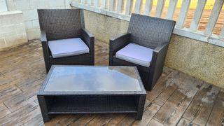 conjunto sillones y mesa jardin