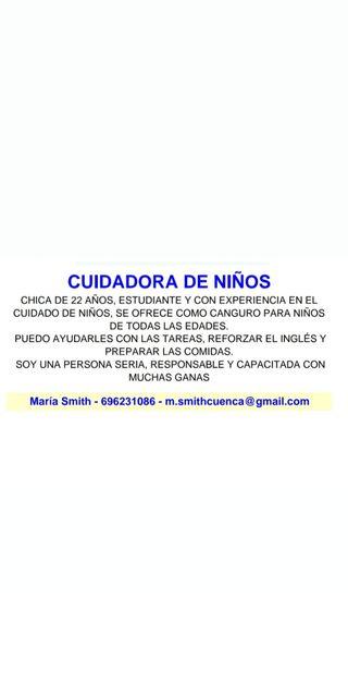 NIÑERA/ CUIDADORA (CON INGLÉS)