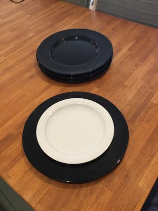6 Bajoplatos cristal negro 33 cm. Nuevos.