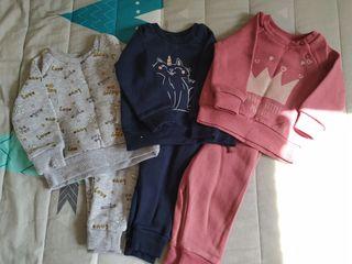 lote 3 chándal bebé niña 3-6 meses