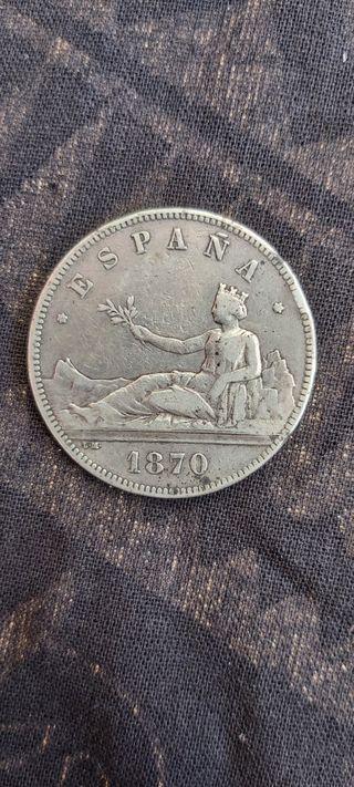 Moneda de las 5 pesetas antiguas del año 1870