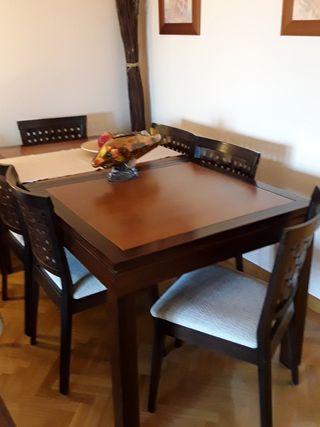 mesa salón madera, no aglomerado y 6 sillas