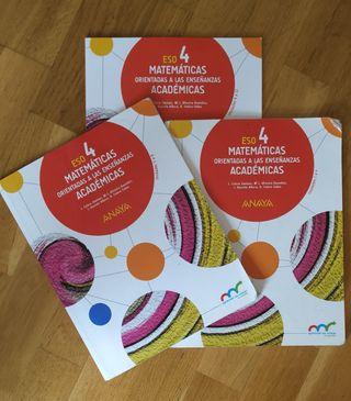 Libros matemáticas 4°ESO, editorial Anaya