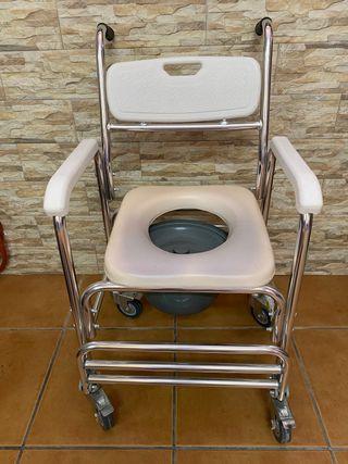 Silla de Baño con ruedas y cubo.