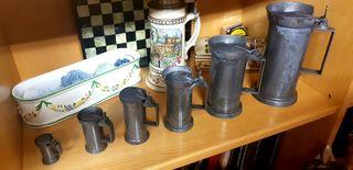 jarras antiguas de 7 medidas de cinc