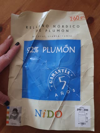 edredón nordico 92% plumon de pato