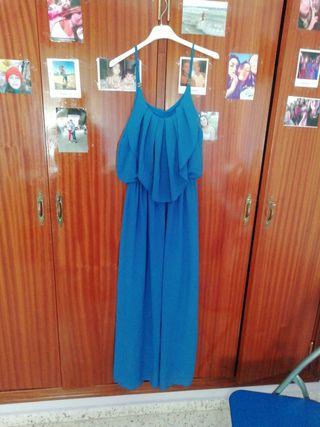 vestido azul estilo griego