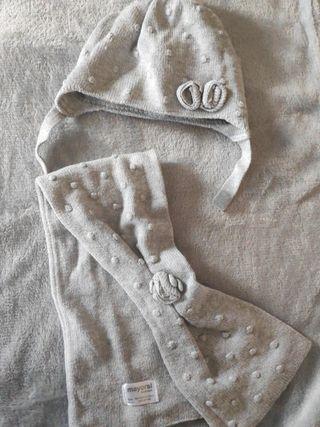 conjunto gorro y bufanda bebé
