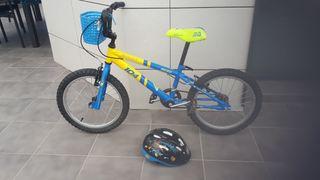 """bicicleta para niño de 20 """" con cesta y casco"""