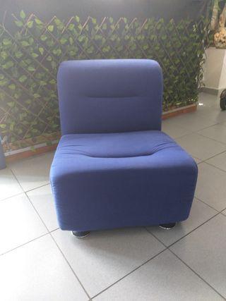 sillón sofá de tela azul casa oficina despacho