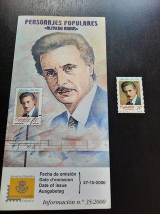 Alfredo Kraus Sello Oficial Original Fnmt 2000