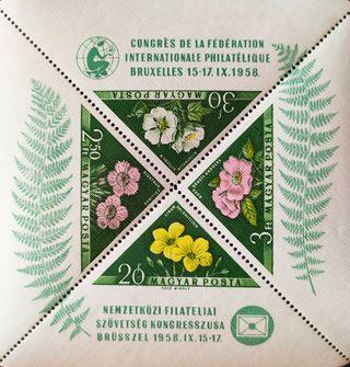 Sello. Flora. Hungría 1958