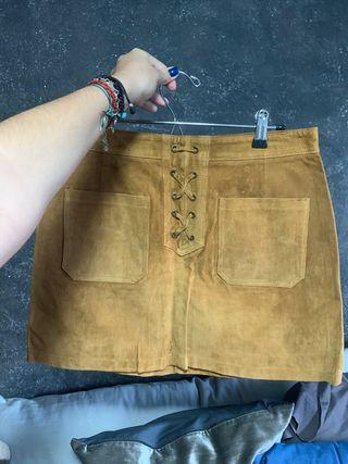 Falda de ante marrón