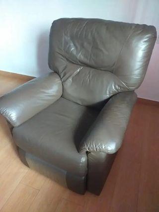 Sillon Relax reclinable de piel, color chocolate