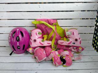 Patines niña con protectores y casco