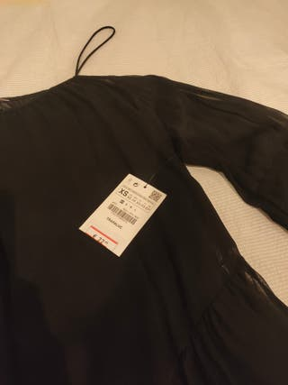 Blusa Zara negra con transparencias