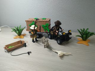 Quad playmobil, jaula con trampa y cazadores