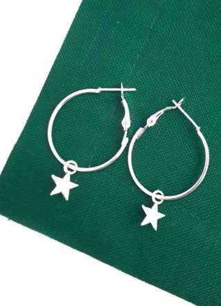 Pendientes aros estrella / zamak plata