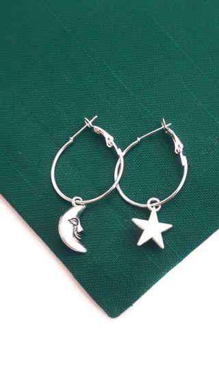 Pendientes aros charms estrella y luna