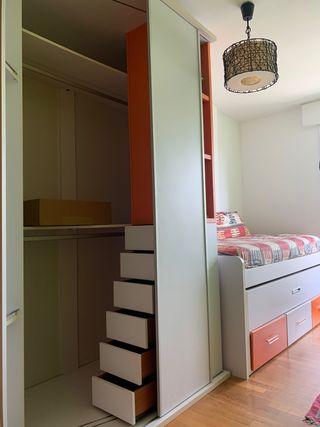 Dormitorio Infantil Juenil cama nido y armario
