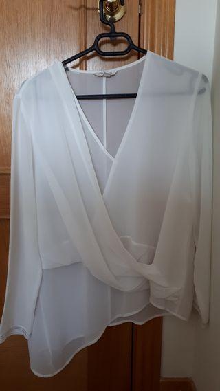 Blusa blanca Cortefiel XL