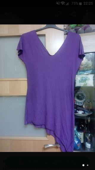 Minivestido o camiseta larga lila Talla S/M