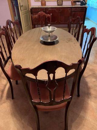 Mesa comedor de madera con 6 sillas