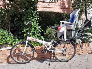 bicicleta plegable con silla para niños