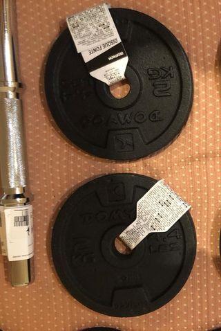 2 DISCOS 2 kg + 4 Discos de 1kg + 2 CIERRES