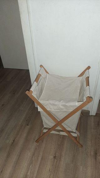 cesta para ropa de madera y tela plegable 60 cm