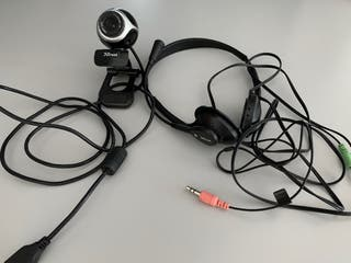 Webcam y auriculares