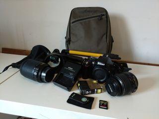 Cámara Nikon D5100+ dos objetivos+ accesorios