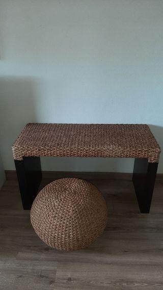 Mesa madera y rattan y asiento Tailandia
