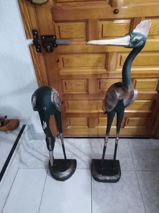 figuras de aves de madera