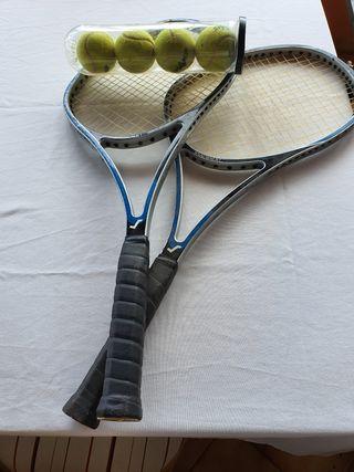 lote 2 raquetas tenis + 4 pelotas