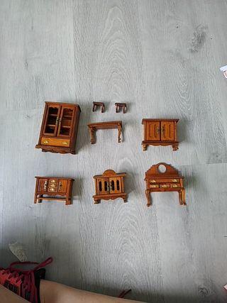 conjunto de muebles madera casa muñecas