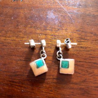 Vintage 925 Silver Dangle Jade Earrings