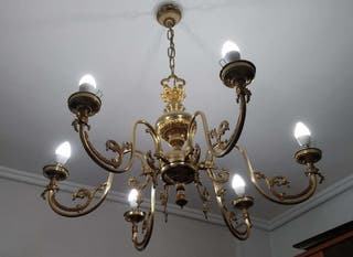 LAMPARA ARAÑA DE TECHO DE BRONCE (grande)