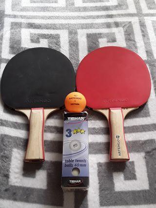 Juego de ping ping raquetas y pelotas