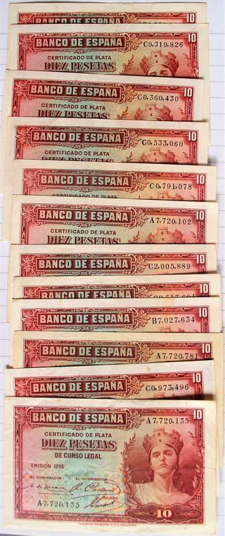 Lote 12 Billetes 10 Pesetas