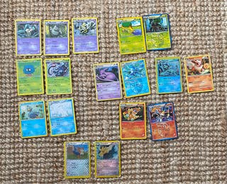 Cartas de pokemon con sus evoluciones