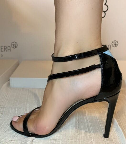 High heel leather sandals. Brand new