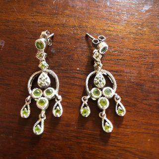 Vintage 925 Silver Peridot Chandelier Earrings