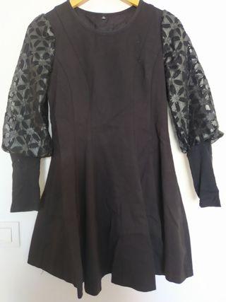 Vestido negro vintage manga larga farol