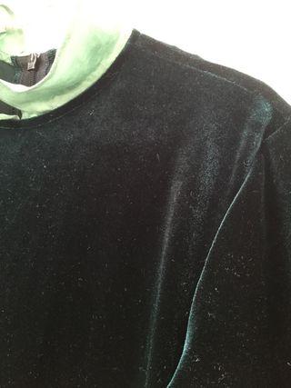 Vestido terciopelo verde BONPOINT (Talla 10)