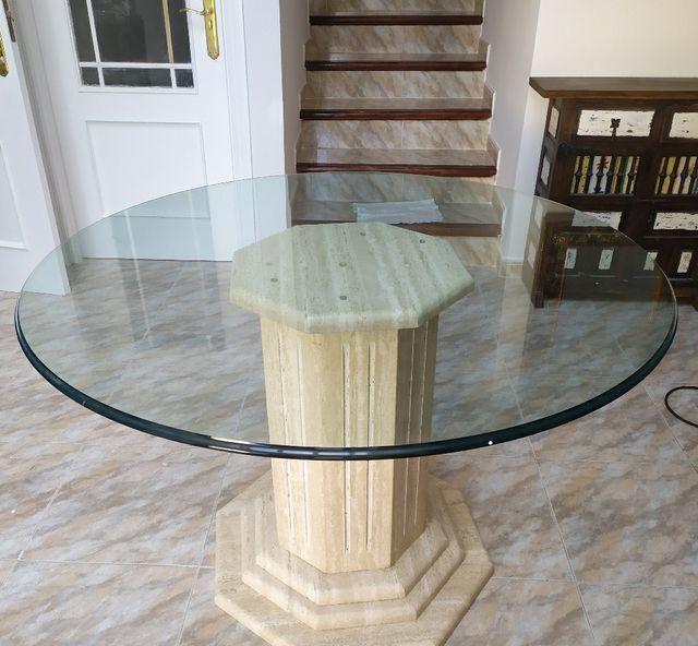 mesa redonda de cristal y marmol