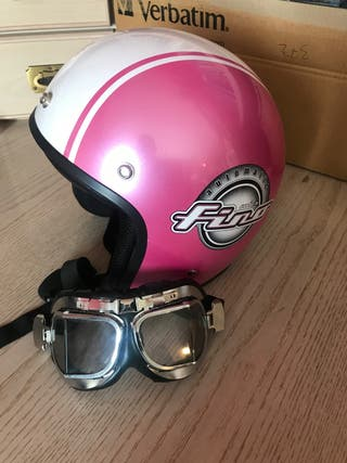 Casco moto rosa y blanco + gafas piloto