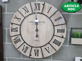 RELOJ DE PARED MADERA NATURAL Y METAL GRAND HOTEL