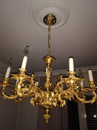 Lámpara. Araña de bronce