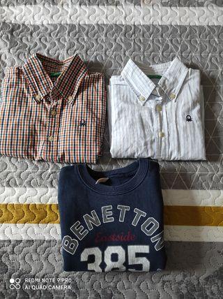 Camisas y sudadera Benetton talla 2,3 (90cm)